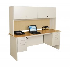 """Pronto 72"""" Double File Desk with Flipper Door Cabinet, 72W x 30D:Putty/Beryl"""