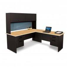 Pronto Desk with Return and Pedestal, 72W x 78D:Black/Oak, Slate