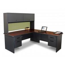 Pronto Desk with Return and Pedestal, 72W x 78D:Dark Neutral/Peridot