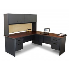 Pronto Desk with Return and Pedestal, 72W x 78D:Dark Neutral/Beryl
