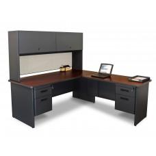 Pronto Desk with Return and Pedestal, 72W x 78D:Dark Neutral/Chalk