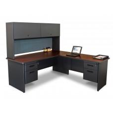 Pronto Desk with Return and Pedestal, 72W x 78D:Dark Neutral/Slate