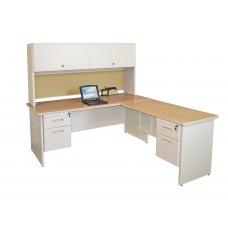 Pronto Desk with Return and Pedestal, 72W x 78D:Putty/Beryl