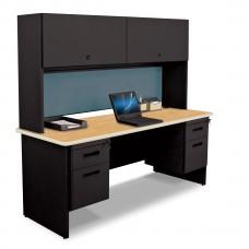 "Pronto 72"" Double File Desk Credenza Including Flipper Door Cabinet, 72W x 24D:Black/Oak, Slate"