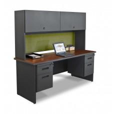 "Pronto 72"" Double File Desk Credenza Including Flipper Door Cabinet, 72W x 24D:Dark Neutral/Peridot"
