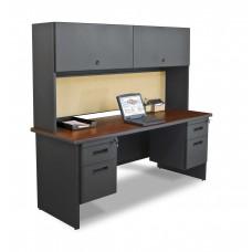 "Pronto 72"" Double File Desk Credenza Including Flipper Door Cabinet, 72W x 24D:Dark Neutral/Beryl"