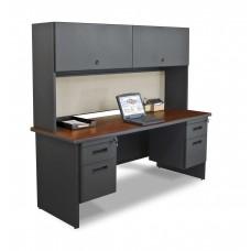 "Pronto 72"" Double File Desk Credenza Including Flipper Door Cabinet, 72W x 24D:Dark Neutral/Chalk"