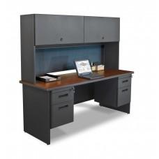 "Pronto 72"" Double File Desk Credenza Including Flipper Door Cabinet, 72W x 24D:Dark Neutral/Slate"
