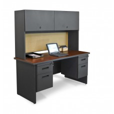 "Pronto 60"" Double File Desk Credenza Including Flipper Door Cabinet, 60W x 24D:Dark Neutral/Beryl"