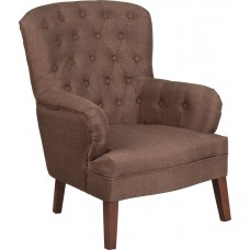 HERCULES Arkley Series Brown Fabric Tufted Arm Chair [QY-B60-BN-GG]