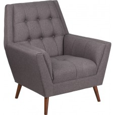 HERCULES Kensington Series Contemporary Gray Fabric Tufted Arm Chair [QY-B62-GY-GG]