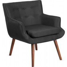 HERCULES Hayes Series Black Fabric Tufted Arm Chair [QY-B84-BK-GG]