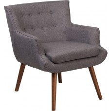 HERCULES Hayes Series Gray Fabric Tufted Arm Chair [QY-B84-GY-GG]