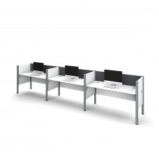 Pro-Biz Triple side-by-side workstation in White with Gray Tack Boards
