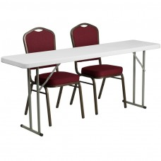 18'' x 72'' Plastic Folding Training Table Set with 2 Crown Back Stack Chairs [RB-1872-1-GG]