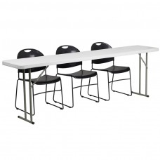 18'' x 96'' Plastic Folding Training Table Set with 3 Black Plastic Stack Chairs [RB-1896-1-GG]