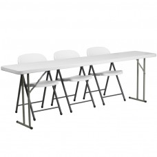 18'' x 96'' Plastic Folding Training Table Set with 3 White Plastic Folding Chairs [RB-1896-2-GG]