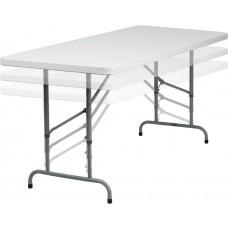 30''W x 72''L Height Adjustable Granite White Plastic Folding Table [RB-3072ADJ-GG]