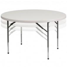 48'' Round Height Adjustable Granite White Plastic Folding Table [RB-48-ADJUSTABLE-GG]