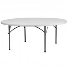 72'' Round Granite White Plastic Folding Table [RB-72R-GG]