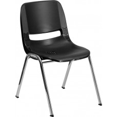 HERCULES Series 661 lb. Capacity Black Ergonomic Shell Stack Chair with Chrome Frame and 16'' Seat Height [RUT-16-BK-CHR-GG]