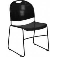 HERCULES Series 880 lb. Capacity Black Ultra Compact Stack Chair with Black Frame [RUT-188-BK-GG]