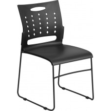 HERCULES Series 881 lb. Capacity Black Sled Base Stack Chair with Air-Vent Back [RUT-2-BK-GG]