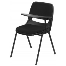 Black Padded Ergonomic Shell Chair with Left Handed Flip-Up Tablet Arm [RUT-EO1-01-PAD-LTAB-GG]