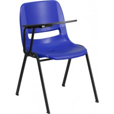 Blue Ergonomic Shell Chair with Right Handed Flip-Up Tablet Arm [RUT-EO1-BL-RTAB-GG]