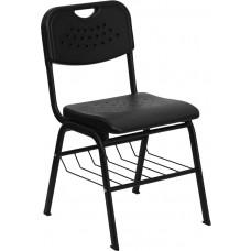 HERCULES Series 880 lb. Capacity Black Plastic Chair with Black Frame and Book Basket [RUT-GK01-BK-BAS-GG]