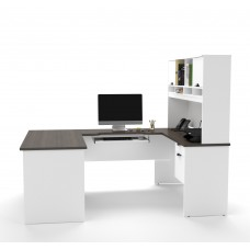 Innova U-shaped workstation in White and Antigua
