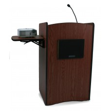 Multimedia Computer Lectern, Wired Sound - Mahogany