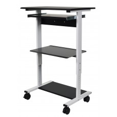 Luxor STAND-WS30 Mobile 3 Shelf Adjustable Stand Up Workstation