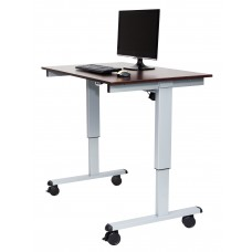 "Luxor STANDE-48  48"" Electric Standing Desk Gray/Walnut"
