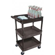 Luxor Black 3 Shelf Tub Cart W/ Bottle Holder