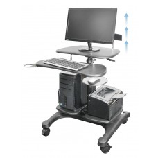 Mobile Height Adjustable Computer Workstations - with LCD Monitor Mount Pole