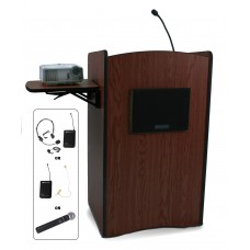 Multimedia Computer Lectern, Wireless Sound - Mahogany