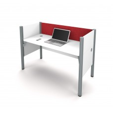 Pro-Biz Simple workstation in White with Red Tack Board