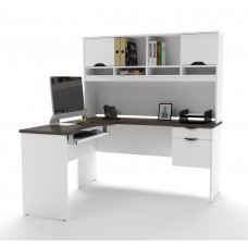 Innova L-shaped desk in White and Antigua