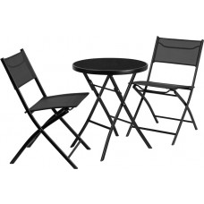 23.75'' Round Tempered Glass Metal Outdoor Table Set with 2 Textilene Fabric Folding Chairs [TLH-137-RD-GG]