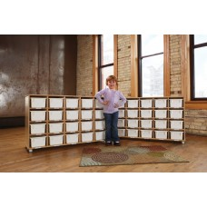 TrueModern® Twenty-Cubbie Shelf - with White Cubbie-Trays