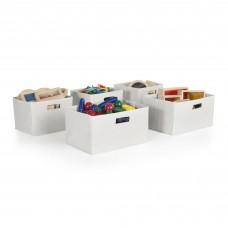 White Storage Bins - Set of 5