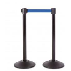 Steel stanchion w/ black post and 7.5' blue belt