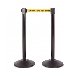 """Steel stanchion w/ black post and 7.5' """"Caution - Do Not Enter"""" belt"""