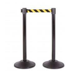 Steel stanchion w/ black post and 7.5' yellow/black chevron belt