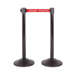 """Steel stanchion w/ black post and 7.5' """"Danger - Keep out"""" belt"""
