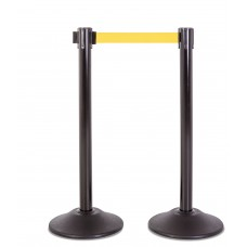 Steel stanchion w/ black post and 7.5' yellow belt