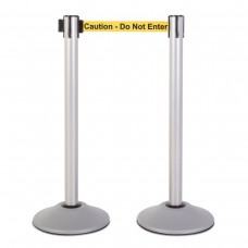 """Steel stanchion w/ silver post and 7.5' """"Caution - Do Not Enter"""" belt"""