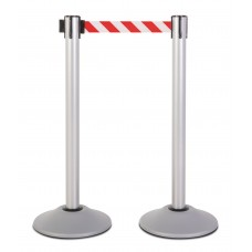 Steel stanchion w/ silver post and 7.5' red/white chevron belt
