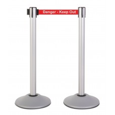 """Steel stanchion w/ silver post and 7.5' """"Danger - Kee Out"""" belt"""